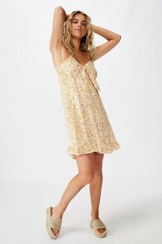 Woven Kiara Tie Front Mini Dress, FRANKIE DAISY GARDENIA