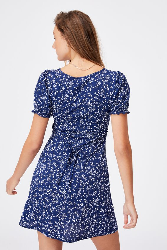 Brianna Ruched Front Mini Dress, SERENA DITSY MEDIEVAL BLUE