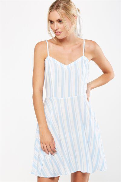 Woven Krissy Dress, CHLOE STRIPE PLACID BLUE