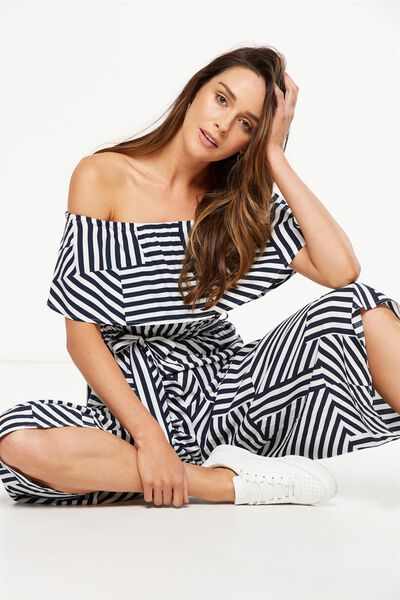 Woven Betty Frill Bandeau Culotte Jumpsuit, INA STRIPE PATCH TOTAL ECLIPSE