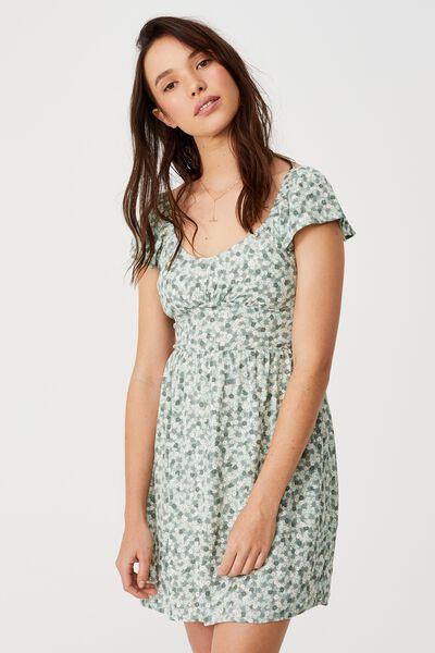 Woven Petite Naomi Shirred Back Tea Dres, QUINN DITSY JADEITE