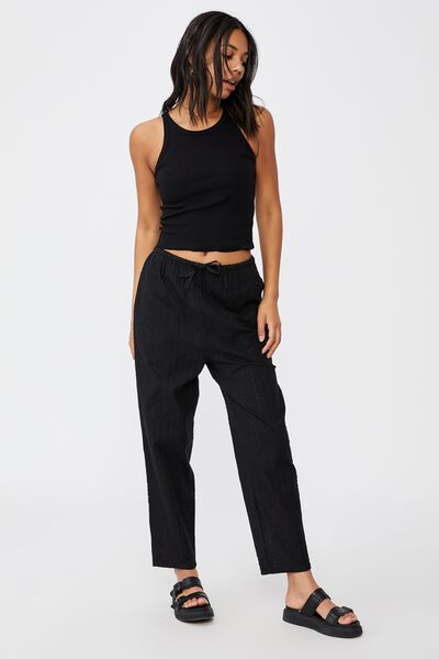 Cali Pull On Pant, BLACK BRODERIE