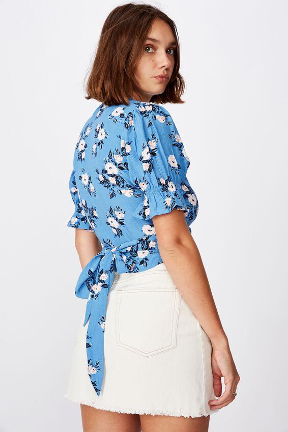 Poppy Short Sleeve Wrap Top, LIBBY ROSE PARISIAN BLUE
