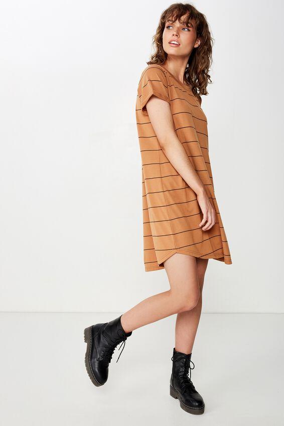 Tina Tshirt Dress 2, AMELIA STRIPE LION/BLACK