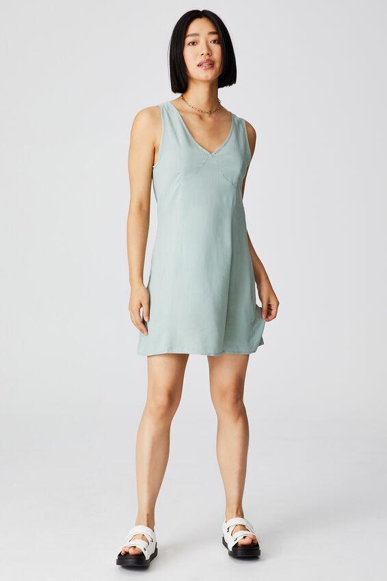 Woven Petite Danny Deep V Sleeveless Mini Dress, LUSH GREEN