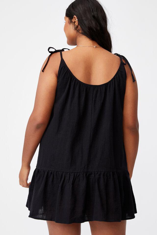 Curve Woven Mia Tiered Tunic Dress, BLACK
