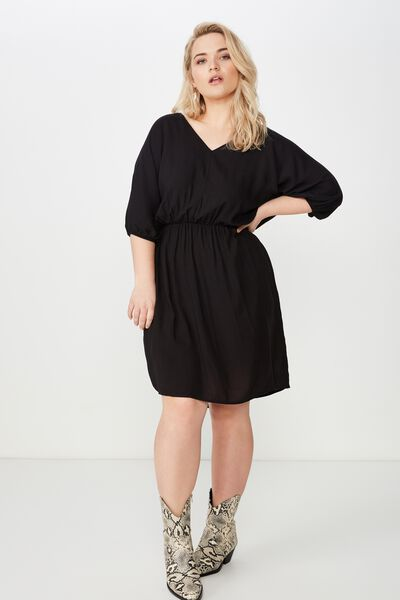 Curve Gathered Waist Woven Dress, BLACK