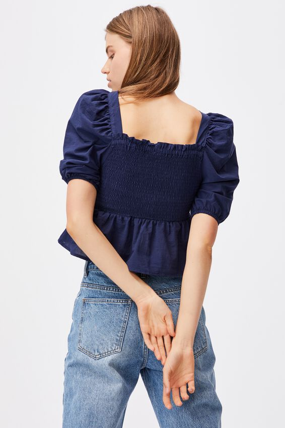 Babydoll Shirred Square Neck Blouse, RHEA DITSY NAVY
