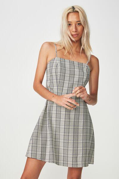Woven Krissy Dress, NYLA CHECK CREAM - L