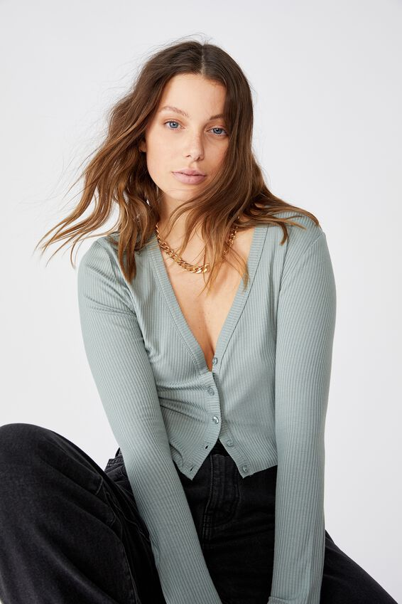 Piper Button Through Cropped Cardi, FALL GREEN