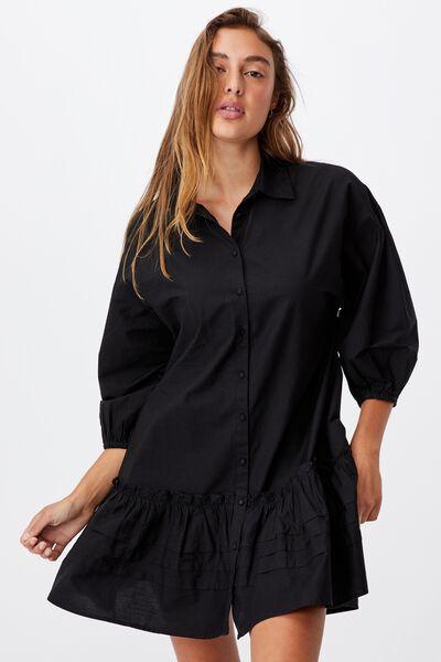 Woven Betsy Short Sleeve Babydoll Shirt Mini Dress, BLACK