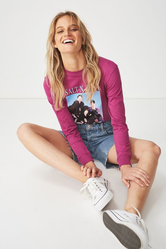 Tbar Tammy Chopped Graphic Long Sleeve Tee, LCN SALT N PEPPA/CLOVER PURPLE