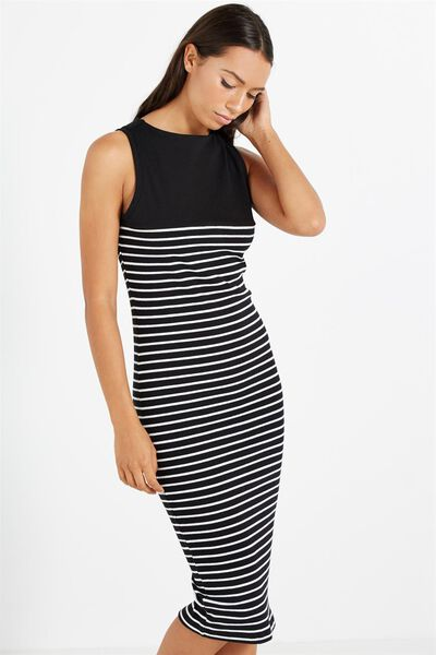 Lola Midi Dress, BLACK/WHITE BRETON STRIPE