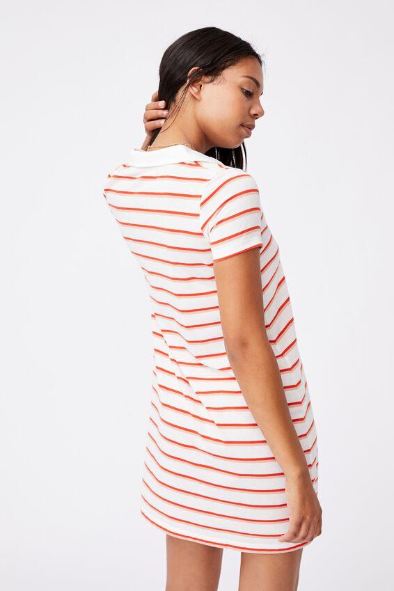 Tina Polo Tshirt Dress, SERENA STRIPE LUNAR WHITE
