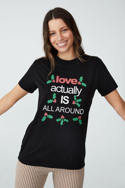 Classic Christmas License T Shirt, LCN UNI LOVE ACTUALLY ALL AROUND/BLACK