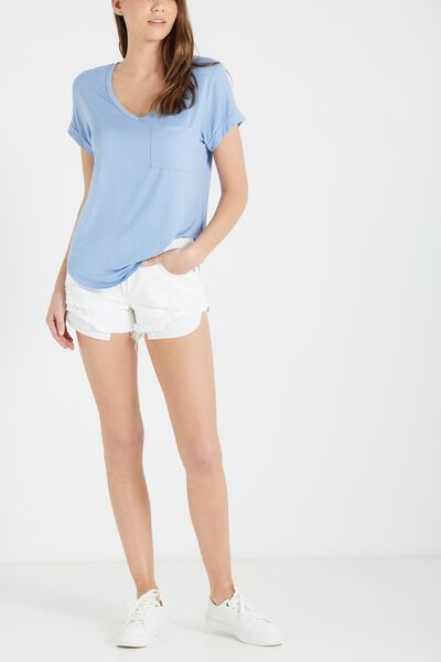 Mid Rise Saturday Denim Short, VANILLA CUFFED