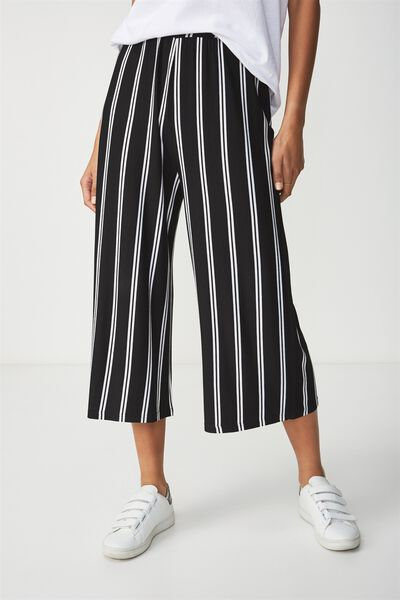 Lauren Drapey Culotte, AMY VERTICAL STRIPE BLACK/WHITE