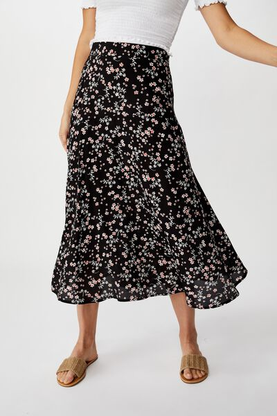 Botanical Midi Skirt, MILLIE FLORAL BLACK
