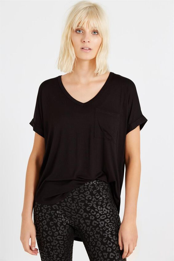 Karly Short Sleeve V Neck Top, BLACK