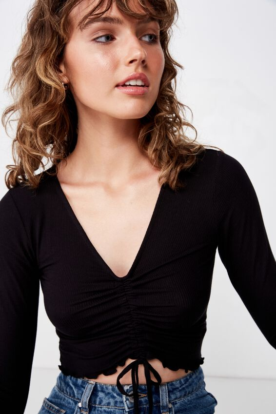 Yasmine Rouched Front Long Sleeve, BLACK