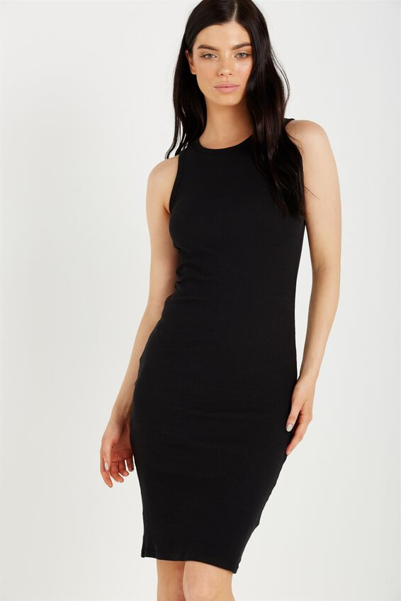 Lena Midi Dress, BLACK RIB