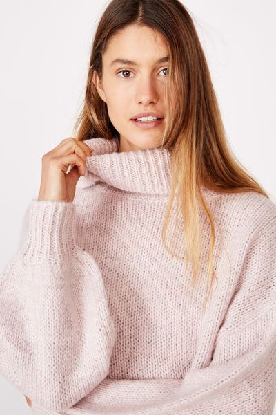 Roll Neck Pullover, BURNISHED LILAC
