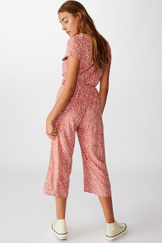 Woven Jamie Short Sleeve Jumpsuit, PIPER ANIMAL CANYON ROSE