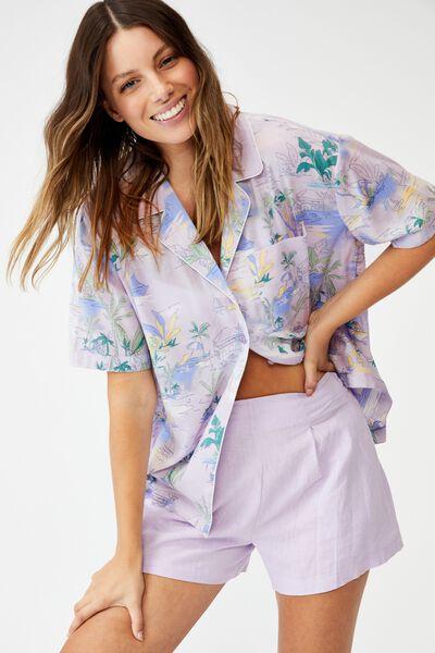 Tropical Short Sleeve Shirt, TROPI TOILE LILAC BLOOM