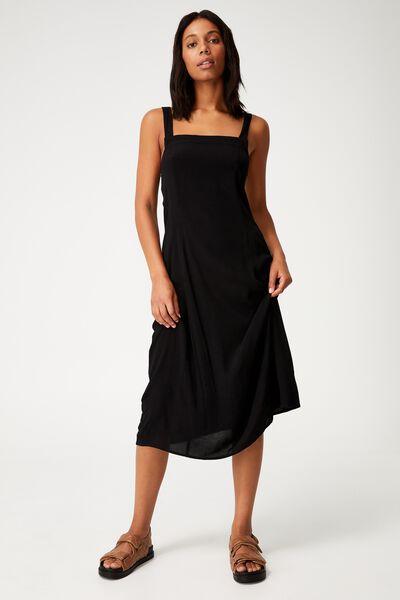 Woven Maddy Tie Back Midi Dress, BLACK