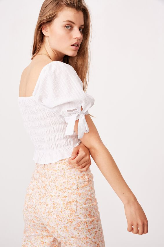 Bella Shirred Square Neck Blouse, WHITE GINGHAM