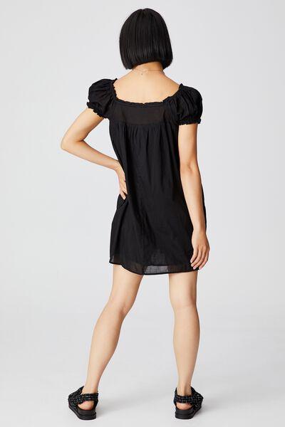 Woven Petite Erica Short Sleeve Mini Tunic, BLACK