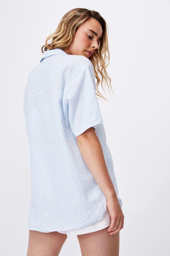 Dad Short Sleeve Shirt, EMILY STRIPE AUTHENTIC BLUE