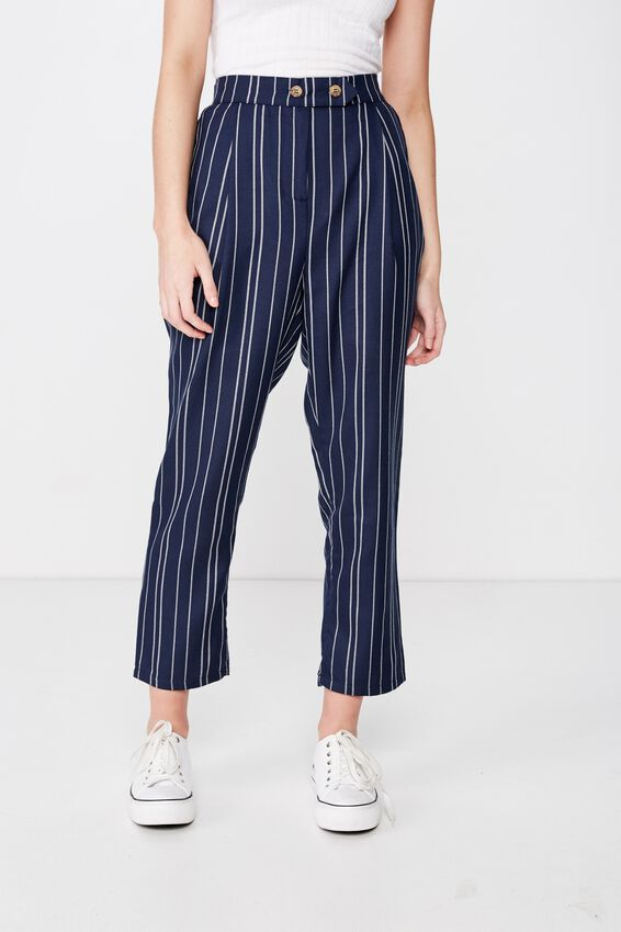Ava Tapered Pant, GRACIE STRIPE TOTAL ECLIPSE