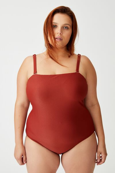 Curve Strapless One Piece Cheeky, RUST RIB
