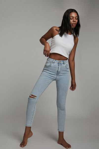High Rise Cropped Skinny Jean, ADDIS BLUE RIP