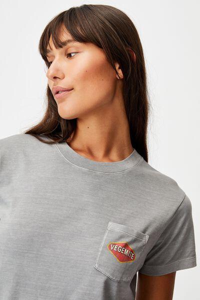 Classic Pop Culture T Shirt, LCN VEG VEGEMITE LOGO POCKET/THUNDER GREY