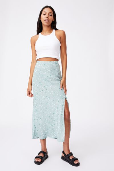 All Day Split Skirt, HEATHER DITSY LUSH GREEN