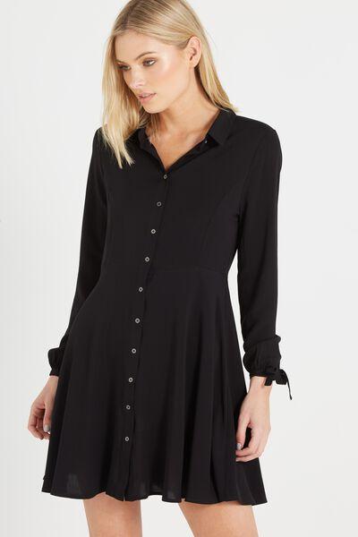 Woven Libby Long Sleeve Soft Shirt Dress, BLACK
