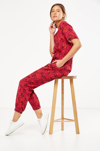 Woven Olivia V Neck Cuffed Jumpsuit, NADENE DISTY FLORAL CERISE