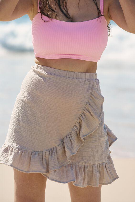 Curve Ruffle Beach Skirt, FAWN