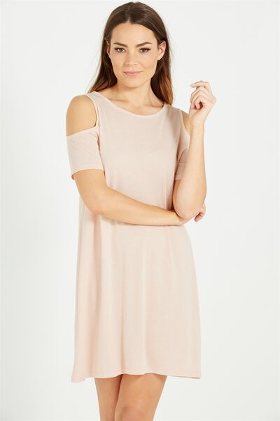 Leo Cold Shoulder Dress, NUDE PINK