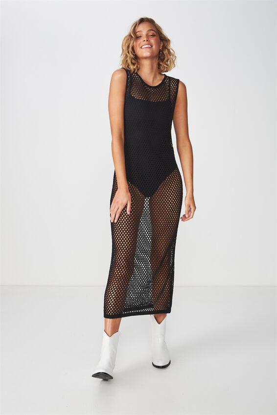 Open Weave Slip Festival Dress, BLACK