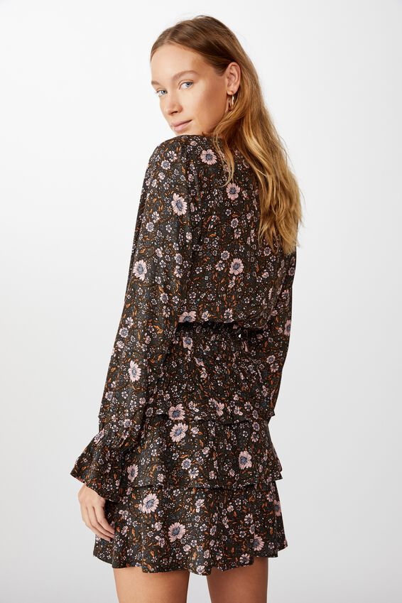 Hailey Long Sleeve Wrap Blouse, JORDYN FLORAL RAVEN