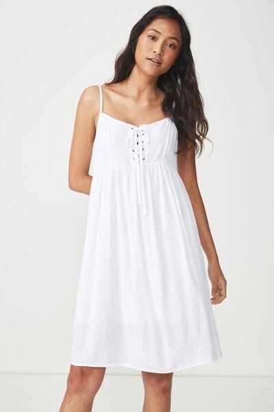 Woven Evelyn Strappy Mini Dress, WHITE
