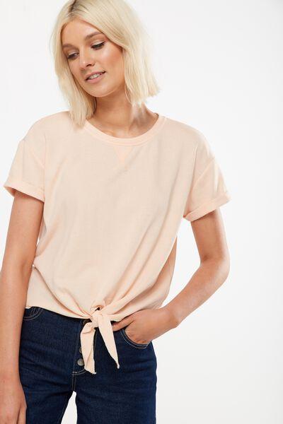 Coco Short Sleeve Fleece Top, CREAMY PEACH