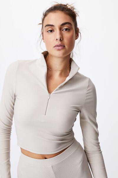 Quinn Quarter Zip Long Sleeve Top, TAUPE