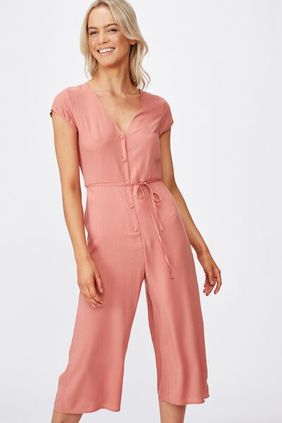 Woven Maggie Short Sleeve Jumpsuit, CANYON ROSE