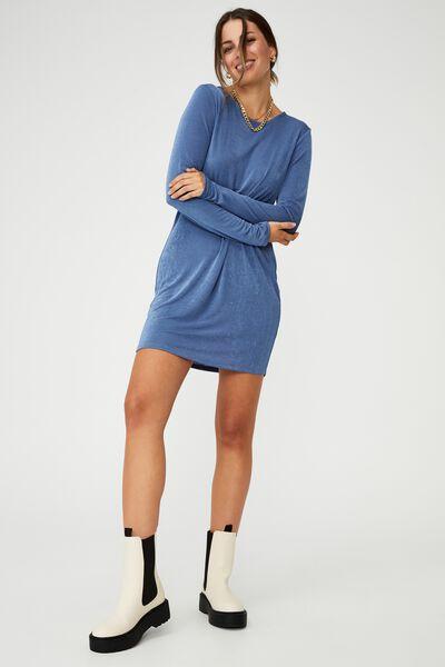 Bowie Slinky Open Back Long Sleeve Mini Dress, COASTAL BLUE