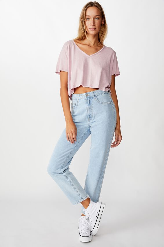 Boxy Lace Trim Tee, WASHED ZEPHYR