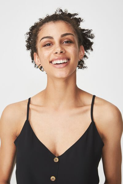 Grace Button Cami, BLACK
